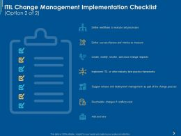 ITIL Change Management Implementation Checklist Ppt Powerpoint Presentation Icon Design Ideas