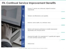 ITIL Continual Service Improvement Benefits Ppt Powerpoint Presentation Diagram