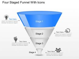 Iu Four Staged Funnel With Icons Powerpoint Template