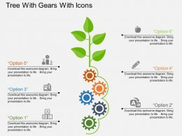 Iu Tree With Gears With Icons Flat Powerpoint Design
