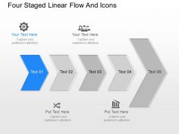 Iv Four Staged Linear Flow And Icons Powerpoint Template