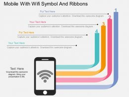 iv_mobile_with_wifi_symbol_and_ribbons_flat_powerpoint_design_Slide01