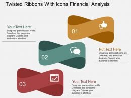 Iv Twisted Ribbons With Icons Financial Analysis Flat Powerpoint Design