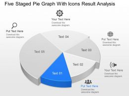 iw Five Staged Pie Graph With Icons Result Analysis Powerpoint Template