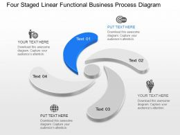 Iw Four Staged Linear Functional Business Process Diagram Powerpoint Template