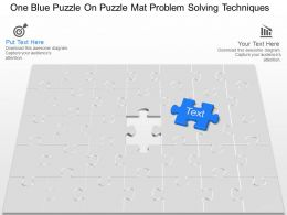 iw_one_blue_puzzle_on_puzzle_mat_problem_solving_techniques_powerpoint_template_Slide01