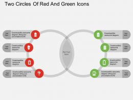 Iw Two Circles Of Red And Green Icons Flat Powerpoint Design
