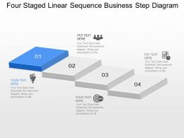 Ix Four Staged Linear Sequence Business Step Diagram Powerpoint Template