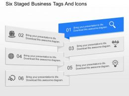 ix Six Staged Business Tags And Icons Powerpoint Template
