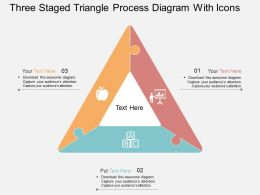 ix Three Staged Triangle Process Diagram With Icons Flat Powerpoint Design