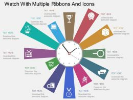 Ix Watch With Multiple Ribbons And Icons Flat Powerpoint Design
