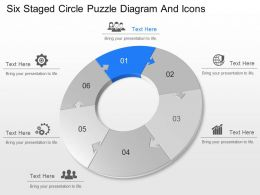 iy Six Staged Circle Puzzle Diagram And Icons Powerpoint Template