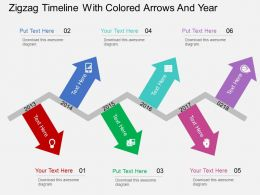 Iy Zigzag Timeline With Colored Arrows And Year Flat Powerpoint Design