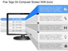 iz Five Tags On Computer Screen With Icons Powerpoint Template