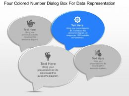 ja Four Colored Number Dialog Box For Data Representation Powerpoint Template