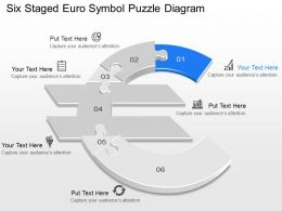 ja Six Staged Euro Symbol Puzzle Diagram Powerpoint Template