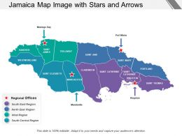 Jamaica Map Image With Stars And Arrows