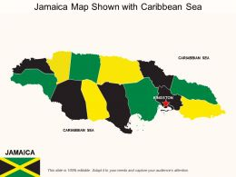 Jamaica Map Shown With Caribbean Sea