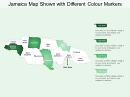 Jamaica Map Shown With Different Colour Markers