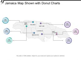 Jamaica Map Shown With Donut Charts