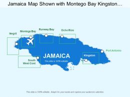 Jamaica Map Shown With Montego Bay Kingston Southwest Coast