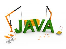 Java Text With Two Cranes Computer Language Stock Photo