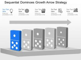 jb Sequential Dominoes Growth Arrow Strategy Powerpoint Template