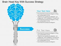 jc Brain Head Key With Success Strategy Flat Powerpoint Design