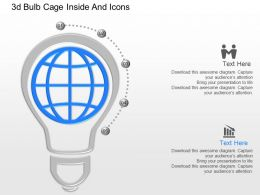 jd 3d Bulb Cage Inside And Icons Powerpoint Template