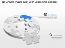 jd 3d Circular Puzzle Disk With Leadership Powerpoint Template