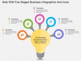 jd Bulb With Five Staged Business Infographics And Icons Flat Powerpoint Design