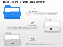 jd Three Folders For Data Representation Powerpoint Template