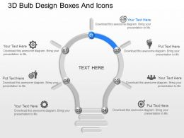 je 3d Bulb Design Boxes And Icons Powerpoint Template