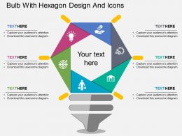 je Bulb With Hexagon Design And Icons Flat Powerpoint Design
