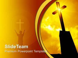 Jesus Christ Bible Powerpoint Templates Religious Cross Sunrise Sunset Chart Ppt Slides