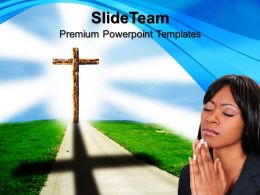 Jesus Christ Bible Powerpoint Templates Road To Heaven Symbol Growth Ppt Themes