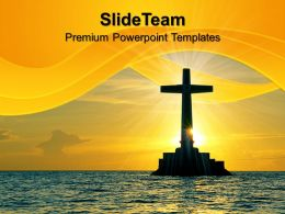 Jesus Christ Bible Powerpoint Templates Tropical Sunset With Cross Religion Teamwork Ppt Slides