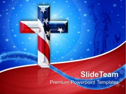 Jesus Christ God Powerpoint Templates Cross With Usa Flag Americana Editable Ppt Presentation