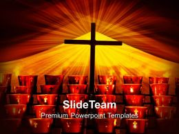Jesus Christ Images Powerpoint Templates Crucifix And Candles Religion Company Ppt Designs