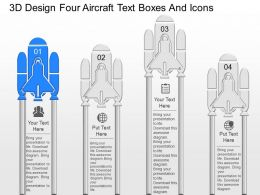 jf 3d Design Four Aircraft Text Boxes And Icons Powerpoint Template