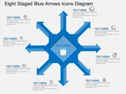 jh Eight Staged Blue Arrows Icons Diagram Flat Powerpoint Design