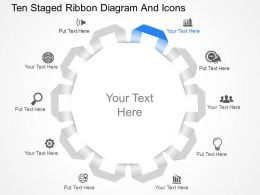 jh Ten Staged Ribbon Diagram And Icons Powerpoint Template