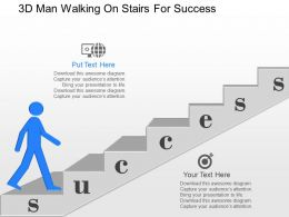 ji 3d Man Walking On Stairs Success Achivement Powerpoint Template