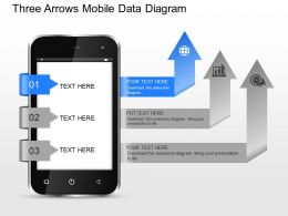 ji Three Arrows Mobile Data Diagram Powerpoint Template