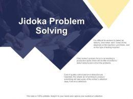 Jidoka Problem Solving Production Ppt Powerpoint Presentation File Layouts