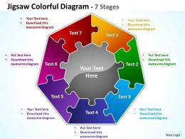jigsaw colorful diagram 7 stages powerpoint templates graphics slides 0712