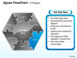 jigsaw flowchart 6 stages powerpoint templates graphics slides 0712