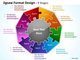 jigsaw format design 9 stages powerpoint templates graphics slides 0712