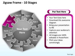 jigsaw frame 10 stages powerpoint templates graphics slides 0712