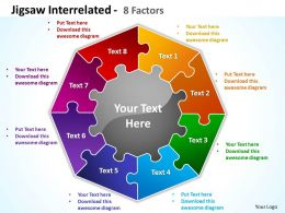 jigsaw interrelated 8 factors powerpoint templates graphics slides 0712